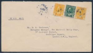 #3-2401a UNLISTED CANADA SEMI-POSTAL ROUND TRIP COVER OCT 22,1924 BT9285