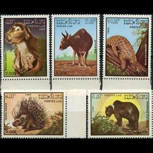 LAOS 1985 - Scott# 645-9 Fauna Set of 5 NH