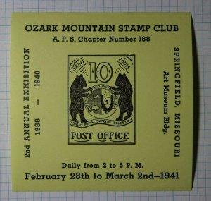 Ozark Mountain Stamp Club Springfield MO Art Museum Philatelic Souvenir Label