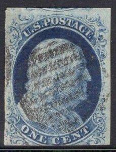 US Stamp Scott #9 1c Blue Franklin Imperf USED SCV $90