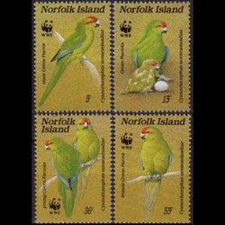 NORFOLK IS. 1987 - Scott# 421a-d WWF-Parrot Set of 4 NH