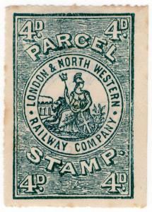 (I.B) London & North Western Railway : Parcel Stamp 4d (with back overprint)