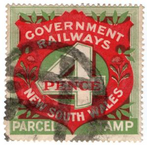 (I.B) Australia - NSW Government Railways : Parcels Stamp 4d
