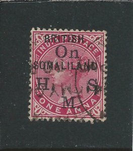 SOMALILAND OFFICIAL 1903 1a CARMINE 1 FOR I IN BRITISH (BR1TISH) FU SG O2a