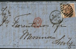 GB Cover London 1872 Sicily PRICES CURRENT 6d DEEP CHESTNUT (Plate 11) 23b.21
