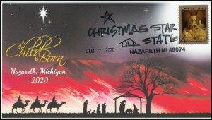 20-278, 2020, Christmas Star, Event Cover, Pictorial Postmark, Nazareth MI,