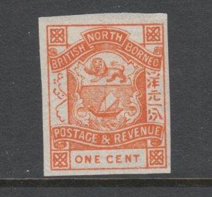 North Borneo Sc 36 MLH. 1887 1c orange Coat of Arms, imperf variety, fresh