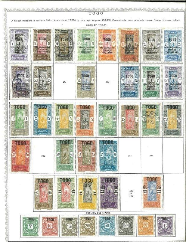 Togo 1916-1949 M &* U Hinged on Minkus Global Pages