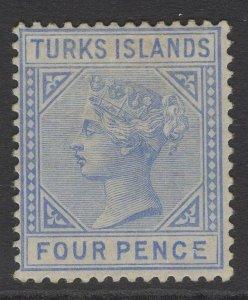 TURKS ISLANDS SG50 1881 4d ULTRAMARINE MTD MINT