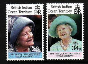 BIOT-Sc#223-24-unused NH set-Queen Mother-100th birthday-2000-