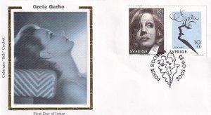 2005, Sweden: Honoring Greta Garbo, Colorano Silk, FDC (E11875)