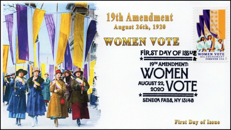 20-152, 2020, SC 5523, Women Vote, Pictorial Postmark, FDC, Seneca Falls NY,