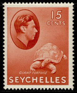 SEYCHELLES GVI SG139ab, 15c brown-red, LH MINT. Cat £10.