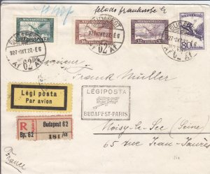 1927, 1st Flt., Budapest, Hungary to Paris, France, Registered (20834)