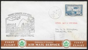 CANADA First Flight Cover c1939 North Bay to Montreal