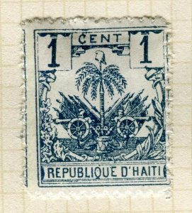 HAITI; Early 1890s Palm Tree issue Mint hinged 1c. Trial print on white paper ?