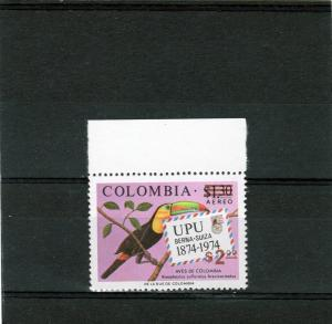 Colombia 1977 Birds - UPU Centenary (1) Perforated OVPT mnh.vf