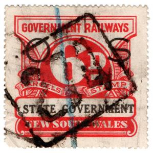 (I.B) Australia - NSW Government Railways : Parcels Stamp 6d (Official Service)