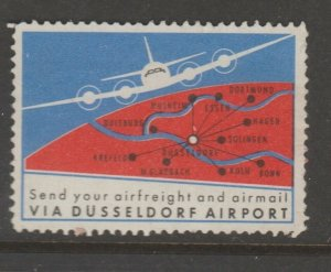 Cinderella revenue fiscal stamp 9-9-23 Germany Airport Airplane (English)
