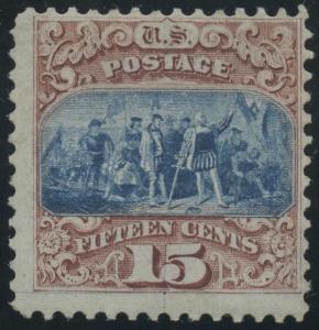 #118 MINT OG LH F-VF 15¢ TYPE 1 1869 SOUND & FRESH CV $9,500 WLM122