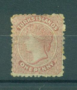 Turks Islands sc# 1 used cat value $67.50