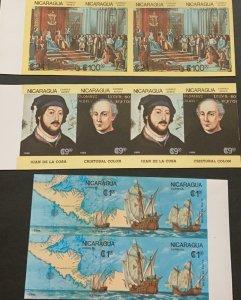 A) 1986, NICARAGUA, DISCOVERY OF AMERICA, COLON, JUAN DE LA COSA, MNH