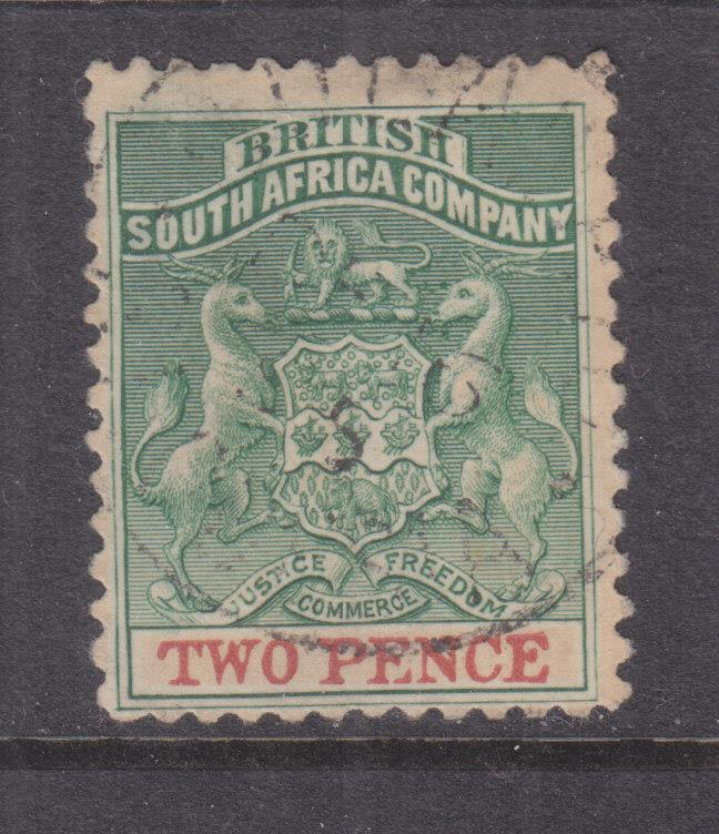 RHODESIA, 1895 thick paper, 2d. Green & Red, used.