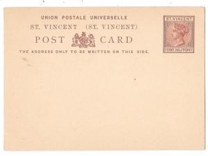 St Vincent British Colony 1 1/2d Victoria 1882 HG1 UPU Postal Stationery Card