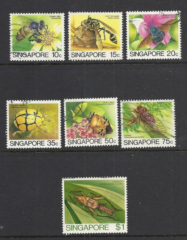 Singapore #454-6, 458-61 used cv $3.75 Insects