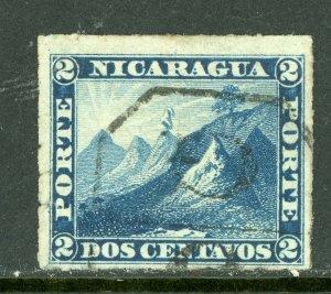 Nicaragua 1877 Momotombo 2¢ Blue Roulette w/Granada Cancel L205