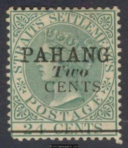 1891 Malaya Pahang Two Cent Surcharge on Overprinted 24c Green, SG 7 MH
