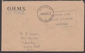 AITUTAKI 1974 OHMS OFFICIAL PAID cover to New Zealand......................29088