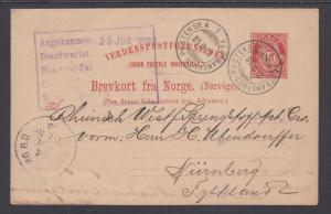 Norway H&G 44 used 1894 10o Postal Card to Nurnberg, Germany, F-VF