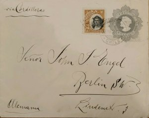 J) 1904 CHILE, COLON, POSTAL STATIONARY, CIRCULATED COVER, FROM CHILE TO GERMANY