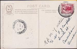 NEW ZEALAND 1904 postcard TRAVELLING PO / DUNEDIN INVERCARGILL cds..........3602