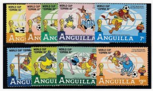 ANGUILLA (MM141) # 492-500 VF-MNH  VARc,$ 1982 DISNEY CHARACTERS PLAYING SOCCER