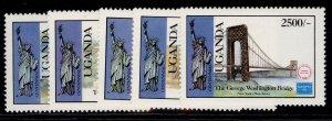 UGANDA QEII SG520-524, 1986 Ameripex stamp exhibit set, NH MINT.