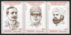 Pakistan 792 strip/3, MNH. Pioneers of Freedom, 1993