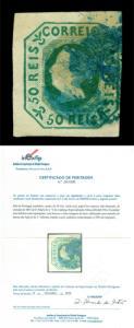 PORTUGAL 1853  Queen Maria  50reis blue green shade  Scott# 3a used VF w/ Cert.