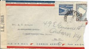 Argentina Cover to West Orange, NJ USA April 1943 - Censored