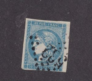 FRANCE 3 44B NUMERAL CANCEL 4 MARGIN IMPERF CAT VALUE $3100