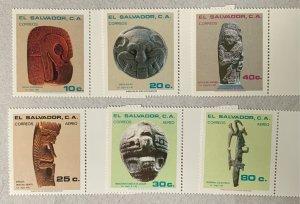 El Salvador 1982 Pre-Columbian Sculptures, MNH. Scott 942-44, C508-10, CV $3.60