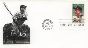1989 Lou Gehrig Baseball (Scott 2417) Unk Batting FDC