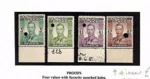 SA1046 RHODESIA Revenues Proofs Original Album page from old-time collection