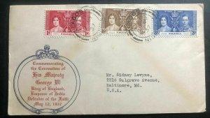 1937 Lagos Nigeria First Day Cover King George VI Coronation KGVI To Baltimore