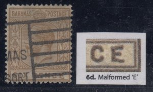 Bahamas, SG 86a, used (creased perfs) Malformed E variety