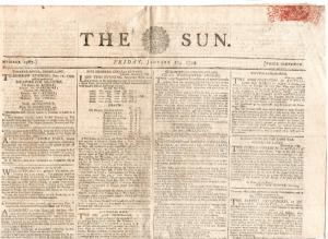 (I.B) George IV Revenue : Newspaper Duty 3d (The Sun 1799)