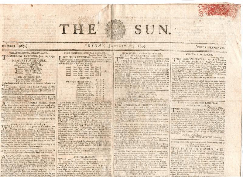 (I.B) George IV Revenue : Newspaper Duty 3d (The Sun 1799)