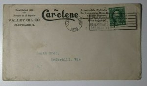 US Sc#443 Used On Cover 1918 Carolene Valley Oil Cleveland OH Ad Logo Bond Cancl