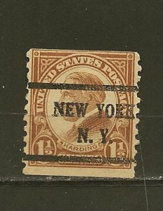 USA 598 Harding Coil New York NY Precancel Used